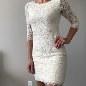 Aritzia Babaton ivory lace dress